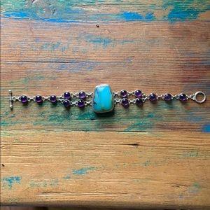 Jewelry - Blue Peruvian Opal & Amethyst Bracelet